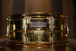 PEARL 14 X 5.5 JIMMY DE GRASSO SIGNATURE SNARE DRUM, HAMMERED BRASS, GOLD HARDWARE (PRE-LOVED)
