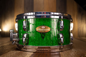 PEARL MASTERWORKS ARTISAN 13 X 6 SNARE DRUM, GREEN TAMO WITH TRIBAL GRAPHICS (PRE-LOVED)