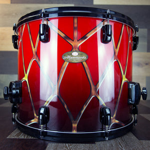 PEARL MASTERWORKS 18 X 14 FLOOR TOM, SPIDERWEB FADE LACQUER WITH GRAPHIC FINISH