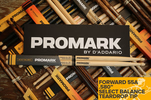 "PROMARK FORWARD 55A .580"" HICKORY TEARDROP WOOD TIP DRUM STICKS"