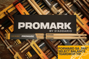 "PROMARK FORWARD 5A .565"" HICKORY TEARDROP WOOD TIP DRUM STICKS"