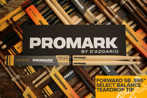 "PROMARK FORWARD 5B .595"" HICKORY TEARDROP WOOD TIP DRUM STICKS"