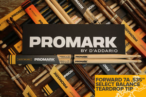 "PROMARK FORWARD 7A .535"" HICKORY TEARDROP WOOD TIP DRUM STICKS"