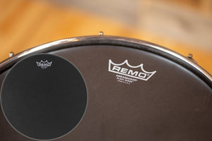"REMO AMBASSADOR BLACK SUEDE WITH BLACK DOT DRUM HEAD (SIZE 14"")"