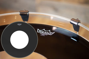 "REMO AMBASSADOR EBONY BASS DRUM HEAD WITH HOLE (SIZES 18"" TO 26"")"