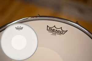 "REMO CONTROLLED SOUND (CS DOT) COATED WHITE DOT DRUM HEAD (SIZES 12"" TO 14"")"