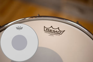 "REMO CONTROLLED SOUND X COATED BLACK DOT DRUM HEAD (SIZES 10"" TO 14"")"