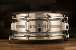 ROGERS 14 X 5 DYNA-SONIC CHROME OVER BRASS BEADED SNARE DRUM, 1960'S SCRIPT BADGE, (PRE-LOVED)