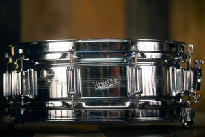 ROGERS 14 X 5 DYNA-SONIC CHROME OVER BRASS SNARE DRUM, RARE UK BUILT VERSION LATE 60'S (PRE-LOVED)