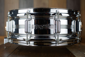 ROGERS 14 X 5 DYNA-SONIC CHROME OVER BRASS BEADED SNARE DRUM, 1960'S SCRIPT BADGE, IMMACULATE (PRE-LOVED)
