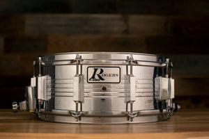 ROGERS 14 X 5.5 R380 STEEL SNARE DRUM, CIRCA EARLY 70'S (PRE-LOVED)
