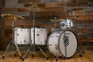 SLINGERLAND BUDDY RICH 5 PIECE SIGNATURE DRUM KIT No.2, NASHVILLE BUILT WITH FULL HARDWARE PACK AND SOLID SHELL SNARE DRUM, WHITE MARINE PEARL (PRE-LOVED)