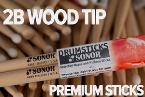 SONOR 2B WOOD TIP DRUM STICKS BY VIC FIRTH