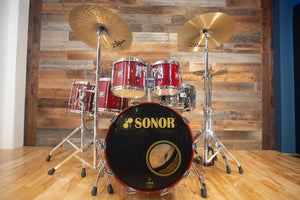 SONOR HILITE 5 PIECE DRUM KIT, RED MAPLE LACQUER WITH FULL HARDWARE PACK, SUPER RARE (PRE-LOVED)