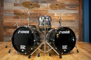 SONOR SQ2 4 PIECE DRUM KIT, BLACK SILVER SPARKLE FADE LACQUER WITH CHROME / BLACK CHROME FITTINGS (PRE-LOVED)