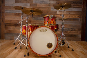 SPAUN CUSTOM SERIES MAPLE DRUM KIT, GOLD FIRE FLAMES WITH GOLD HARDWARE (PRE-LOVED)