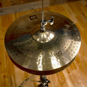 "STAGG 14"" DUAL HAMMERED DH MEDIUM BRILLIANT HI-HAT CYMBALS (PAIR)"