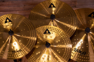 "STAGG AXK COPPER - STEEL ALLOY INNOVATION CYMBAL PACK, 14"" HI-HAT PAIR, 16"" CRASH & 20"" RIDE"