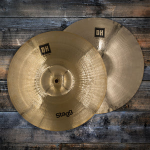 "STAGG 14"" DUAL HAMMERED DH BRILLIANT BITE HI-HAT CYMBALS (PAIR)"
