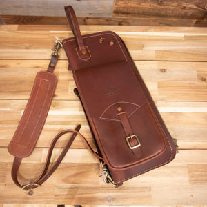 TACKLE LEATHER STICK CASE WITH PATENTED STICK STAND, BROWN