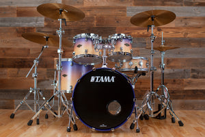 TAMA STARCLASSIC WALNUT / BIRCH 4 PIECE DRUM KIT, SATIN PURPLE ATMOSPHERE FADE (PRE-LOVED)