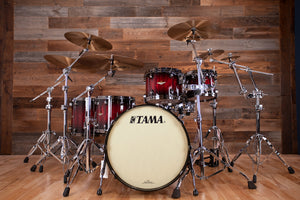 TAMA STARCLASSIC BUBINGA 5 PIECE DRUM KIT, GARNET QUILTED BUBINGA BURST, BLACK NICKEL FITTINGS (PRE-LOVED)