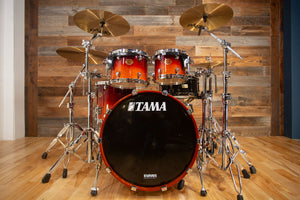 TAMA STARCLASSIC MAPLE MADE IN JAPAN, 4 PIECE DRUM KIT, DARK CHERRY FADE LACQUER (PRE-LOVED)