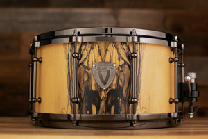 VARUS 14 X 7 MAHOGANY SHELL SNARE DRUM WITH ROYAL EBONY OUTER PLY, BLACK NICKEL FITTINGS, DIECAST HOOPS