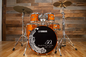 YAMAHA ABSOLUTE HYBRID MAPLE 50TH ANNIVERSARY 5 PIECE DRUM KIT + CASES, CURLY MAPLE ANTIQUE NATURAL (PRE-LOVED)