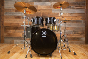 YAMAHA LIVE CUSTOM OAK 4 PIECE DRUM KIT, BLACK WOOD