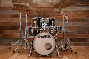 YAMAHA MAPLE CUSTOM 4 PIECE DRUM KIT, BLACK MAPLE STAIN (PRE-LOVED)