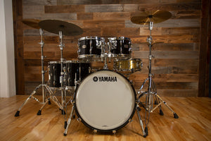 YAMAHA RECORDING CUSTOM 5 PIECE DRUM KIT, SOLID BLACK LACQUER
