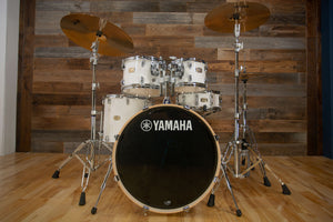 YAMAHA STAGE CUSTOM BIRCH, 5 PIECE DRUM KIT, PURE WHITE LACQUER