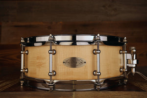 ZEBRA DRUMS 14 X 5 HARD MAPLE STAVE SHELL SNARE DRUM, SEMI GLOSS OIL FINISH
