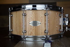 ZEBRA DRUMS 14 X 6.5 LONDON PLANE TREE STAVE SHELL SNARE DRUM, SEMI GLOSS OIL FINISH