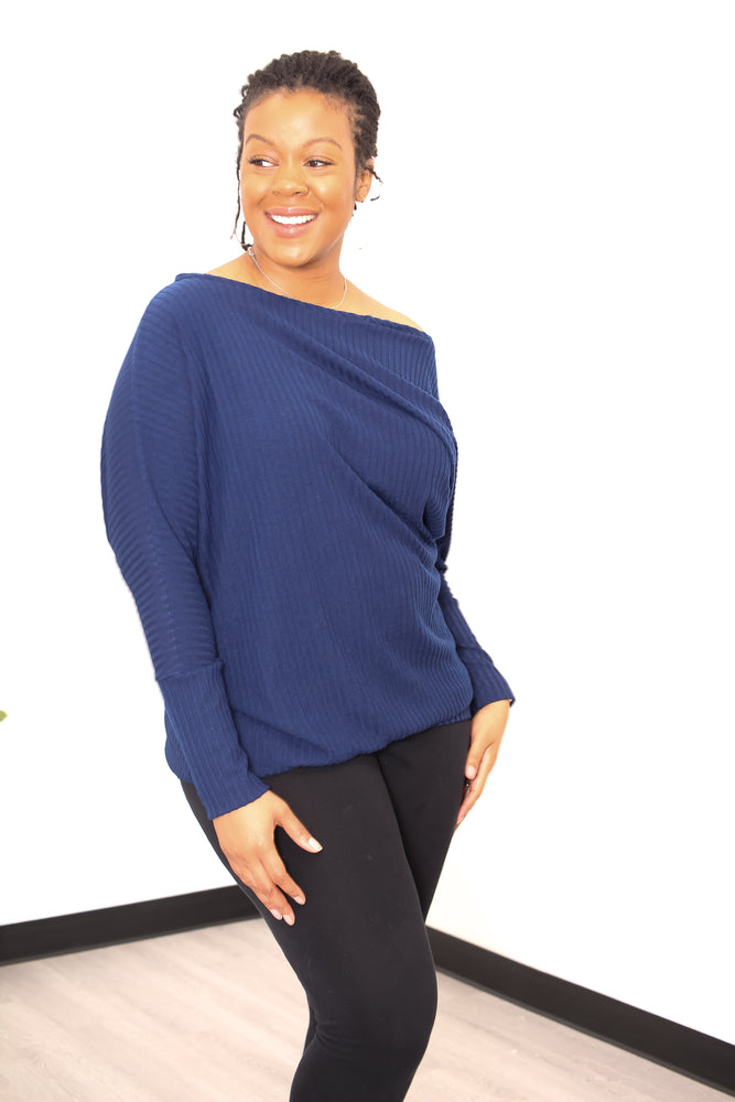 Jenna One Shoulder Asymmetrical Knit Lounge Top - PDF