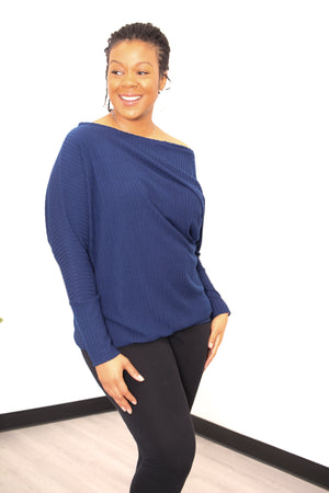 Load image into Gallery viewer, Jenna One Shoulder Asymmetrical Knit Lounge Top - PDF