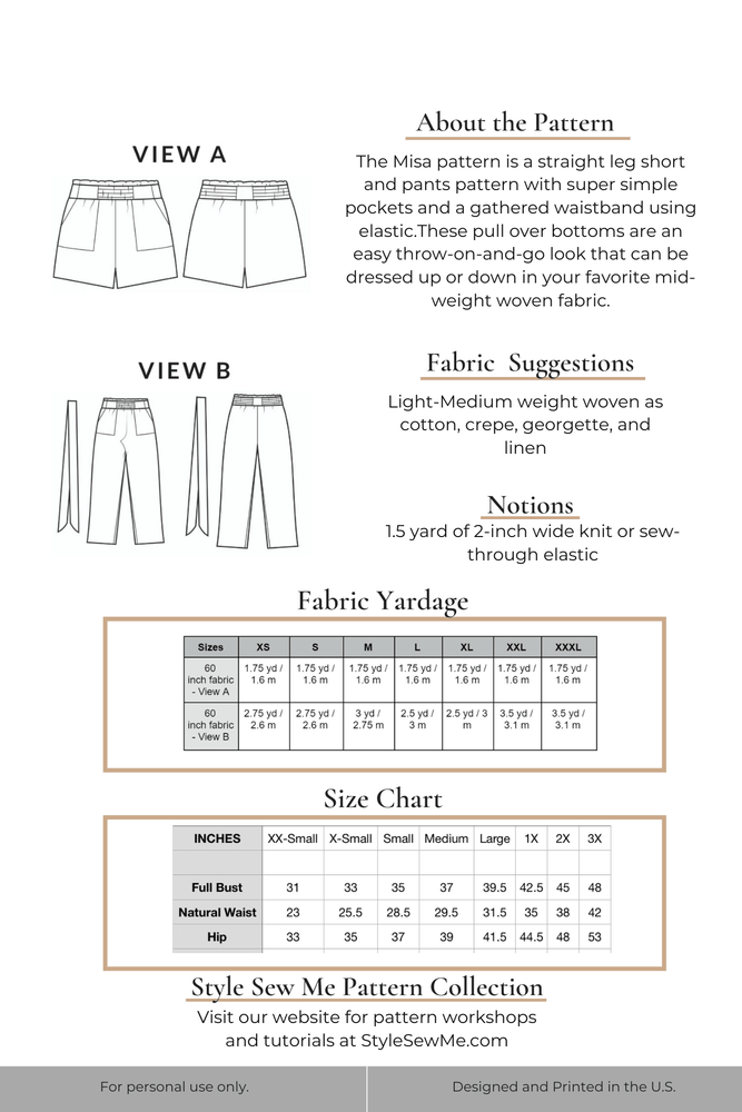 Load image into Gallery viewer, Misa Paperbag Shorts Pants Sewing Pattern