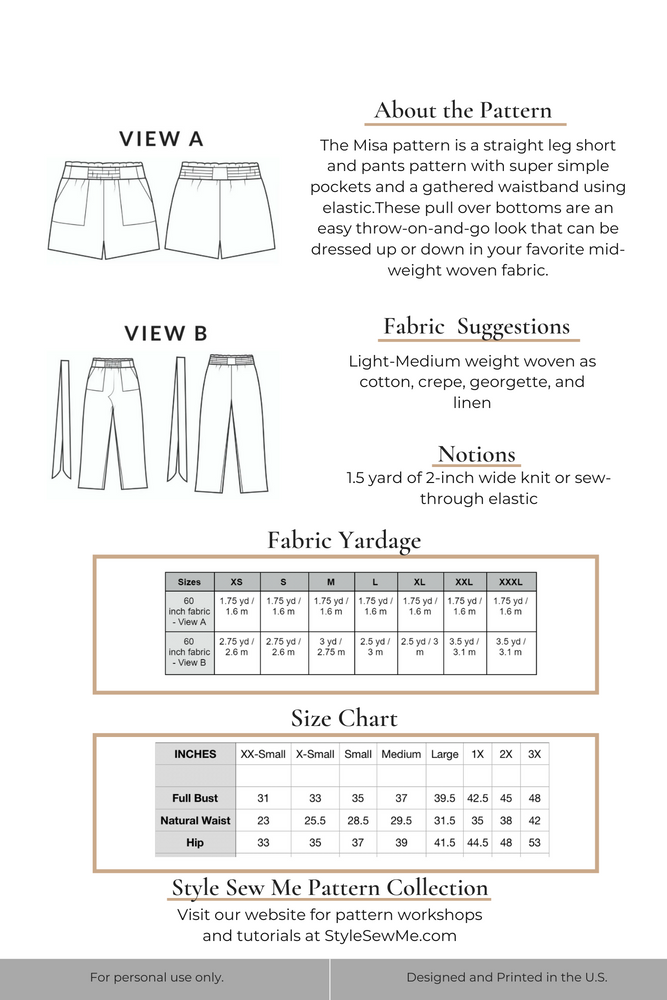 Misa Paperbag Shorts Pants Sewing Pattern - Printed