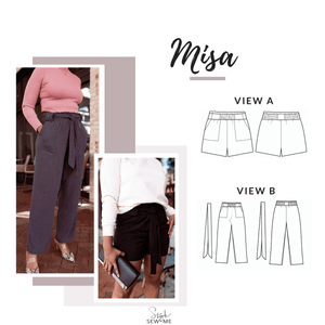 Misa Paperbag Shorts Pants Sewing Pattern - Digital