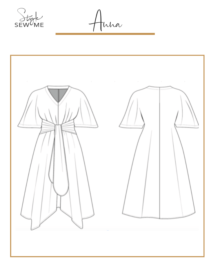 *PRE-ORDER* Anna Handkerchief Hem Dress Pattern - Printed