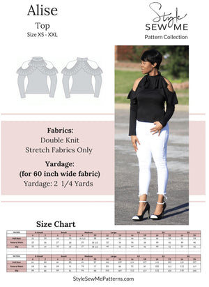 Load image into Gallery viewer, Alise Top Patterns Style Sew Me Patterns