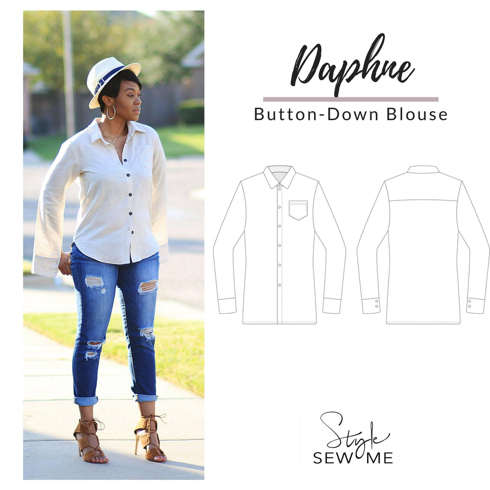 Daphne Button Down Blouse Sewing Pattern - Digital