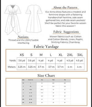 Anna Handkerchief Hem Dress Pattern - Digital