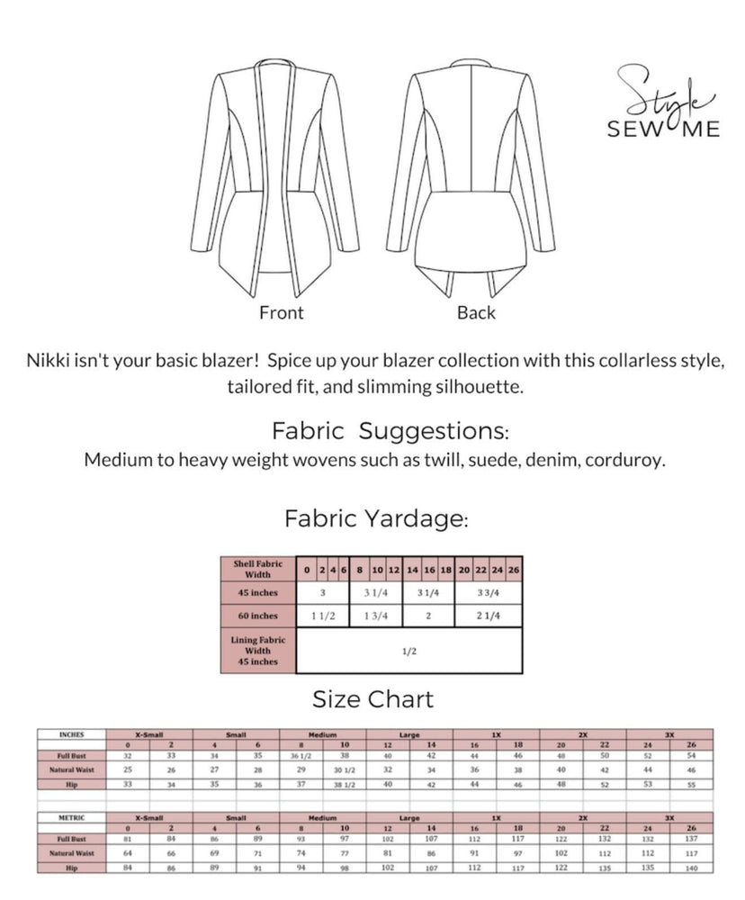 Nikki - Printed Patterns Style Sew Me