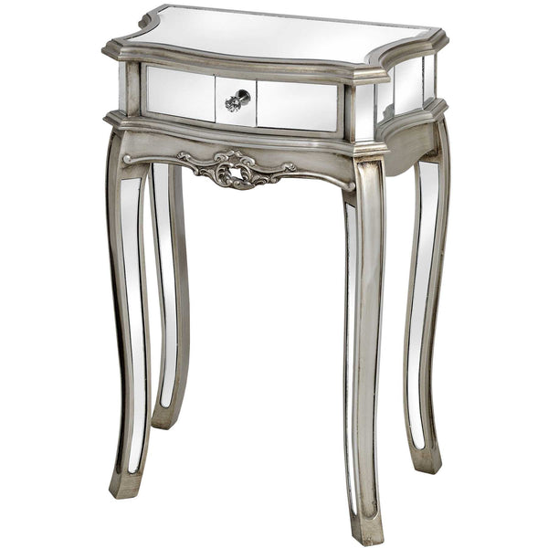 Argente Mirrored 1 Drawer Lamp Table - White intimacy