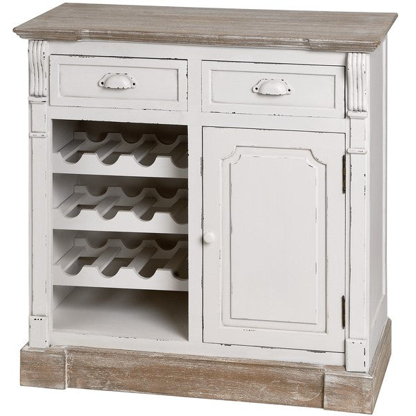 New England Kitchen Cabinet with Wine Rack