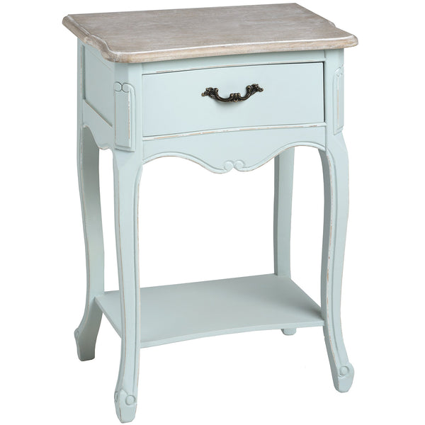 Duck Egg Blue one drawer bedside with shelf - White intimacy