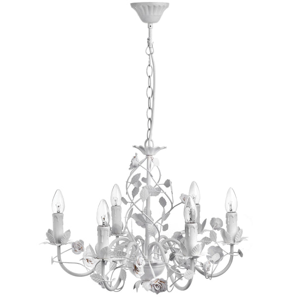 Cream Six Lamp Leafy Chandelier - White intimacy