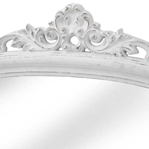 Antique White Over Mantel Mirror - White intimacy